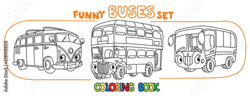 Funny small retro bus with eyes. Coloring book set фототапет