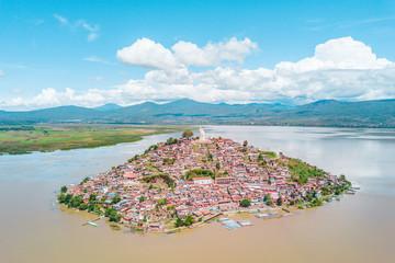 Beautiful view of the Janitzio Island at the Patzcuaro Lake in Michoacan, Mexico
