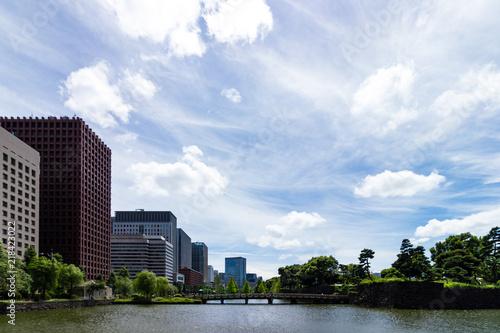 (東京都ー都市風景)和田倉濠に掛かる橋と丸の内ビル群4 Canvas Print