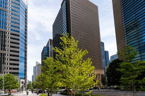 Photo (東京都ー都市風景)ビル群が連なる大手町の街並み