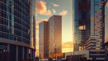 Moscow City International Business Center Skyscrapers At Sunset