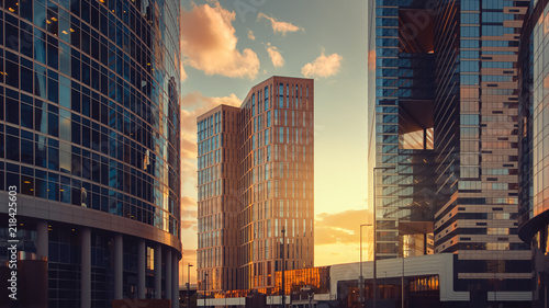 Fotografía  Moscow city international business center skyscrapers at sunset
