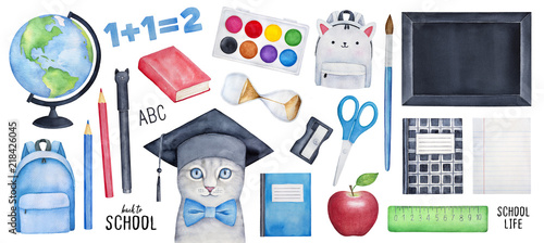 Big Back to School collection with smart kitten character, different stationery, tools, bag, symbols, black board, paintbox, copybooks Canvas-taulu