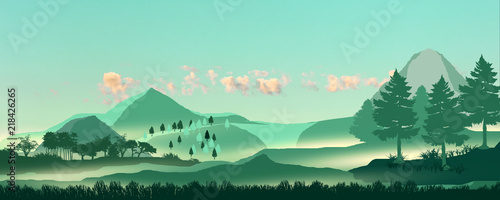 Aluminium Prints Green coral Landscape mountains and forest