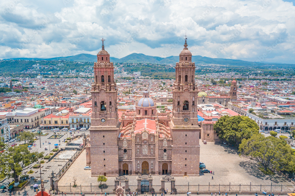 Fototapety, obrazy: Beautiful view of the Colonial Cathedral of Morelia in Michoacan, Mexico