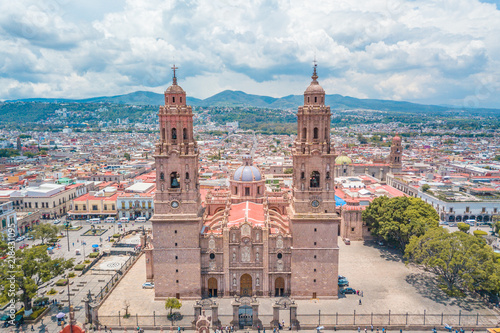 Beautiful view of the Colonial Cathedral of Morelia in Michoacan, Mexico