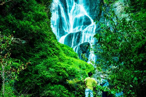 Deurstickers Groene 岡山・神庭の滝