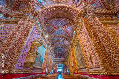 Fotografie, Obraz  Stunning and colorful interior decor of San Diego temple in Morelia, Michoacan,
