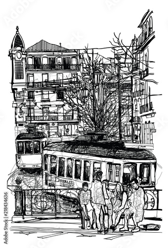 Typical tramway in Lisbon