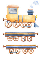 Train With Watercolor. Children's Cartoon Illustration Of A Land Transport On A White Background. Steam Locomotive For Children's Days Of Birth, Postcards, Invitations.