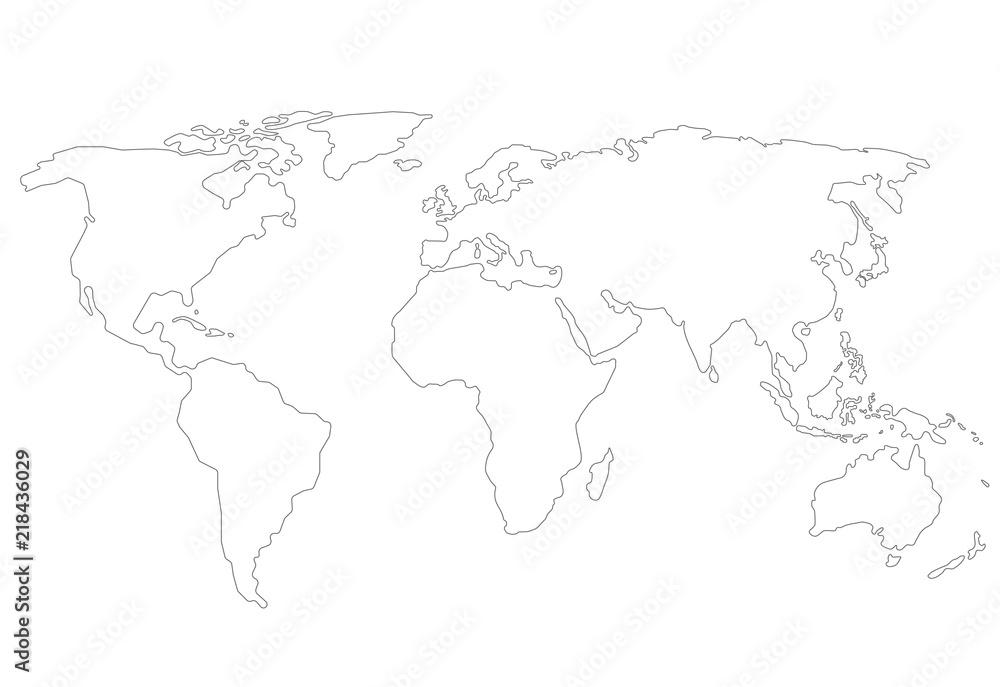 Fototapety, obrazy: Outlines World map