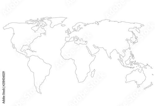 Outlines World map Fototapet