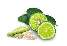 Half Bergamot, Bergamot Leaf And Sliecd Lemongrass  Isolated On White Background