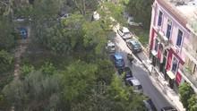 "Cars Drive Next To The Beautiful, Autonomous Park ""Navarinou"" In Athens."