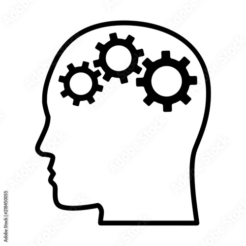 Fotografía  Gears / cogs in head representing critical thinking and intelligent problem solv