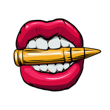 Bullet In Mouth.vector Illustration.