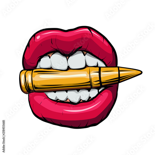 Stampa su Tela bullet in mouth.vector illustration.