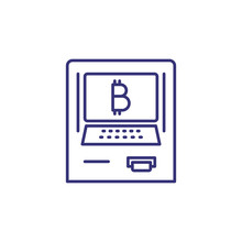 ATM With Bitcoin Payment Line Icon. Virtual Money Cash Machine, Electronic Money, Virtual Money Transaction. Cryptocurrency Concept. Illustration, Banking, Money