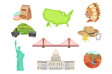 USA National Symbols Set Of Items. Isolated Objects Representing United States Of America