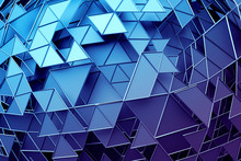 Abstract 3d Rendering Of Geometric Surface. Composition With Triangles. Futuristic Modern Background Design For Poster, Cover, Branding, Banner, Placard.
