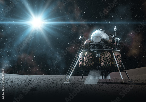 Photo Space Lander On The Rays Of Light