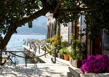 A Small Cozy Cafe On The Bay Of Kotor Coast. Tivat, Montenegro