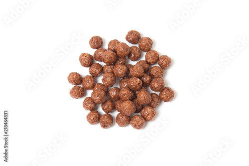 Stickers pour porte Graine, aromate Topview of chocolate cereal balls isolated on white background.
