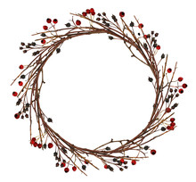 Round Wreath From Dry Twigs An...