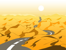 Empty Road In The Desert, Vector Illustration