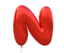 Red Balloon Font Letter N Made...