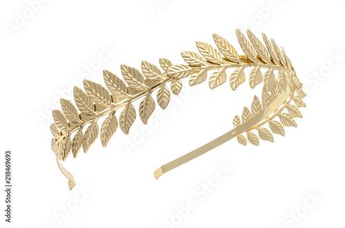 golden laurel wreath, headband isolated on white