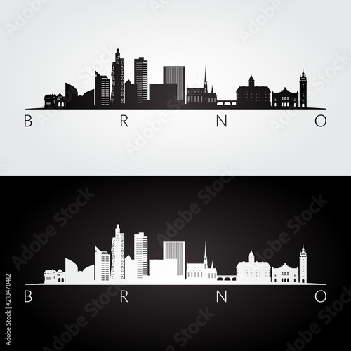 Brno skyline and landmarks silhouette, black and white design, vector illustration Canvas Print
