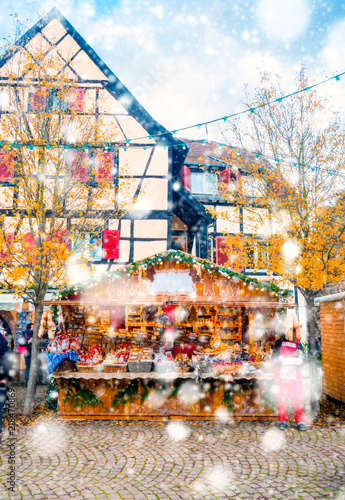 Foto op Aluminium Praag Christmas market under the snow in France, in Strasbourg, Alsace