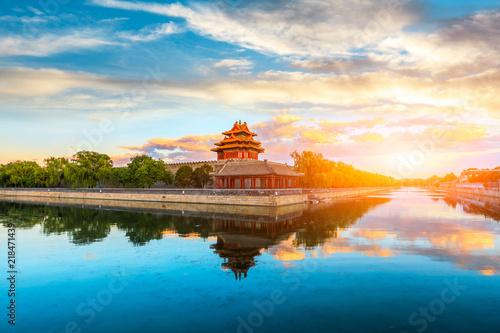 Photo Watchtower of Forbidden City at sunset,Beijing,China
