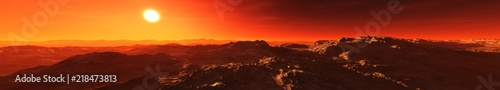 In de dag Bruin A beautiful Martian landscape at sunrise. Panorama of Mars. 3D rendering
