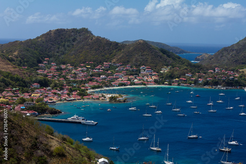 Photo Stands Caribbean Town, bay and port of Terre-de-Haut, capital of Les Saintes islands, Guadeloupe archipelago, Caribbean Sea
