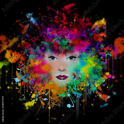 женская модель с абстрактным красочным фоном