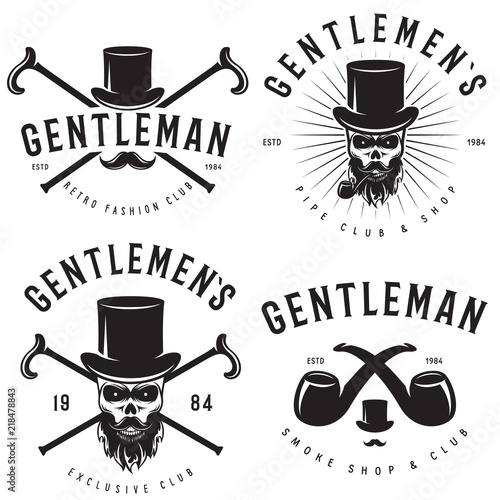 Fotografía Retro badges or labels set for gentleman club