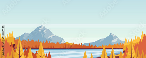 Seamless horizontal fall landscape background. Vector autumn illustration of mountains, hills, meadows, lake and river.