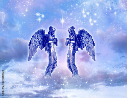 Valokuva  two angels or archangels angel archangel Gabriel, Ariel, Hanilel with dove over