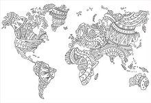 A Painted Map Of The World. Ve...