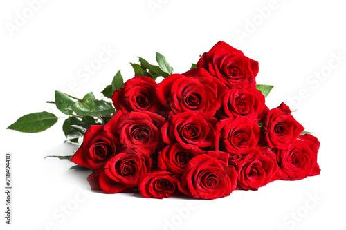 Fototapeta Beautiful red rose flowers on white background obraz