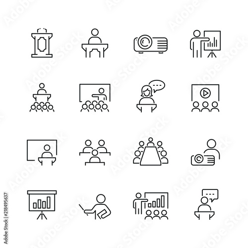 Fotografía  Business presentation related icons: thin vector icon set, black and white kit