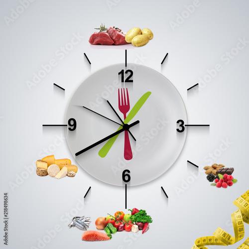 Fotografia  horloge de chrononutrition avec les aliments répartis dans les heures de la journée