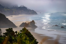 Foggy, Misty, Morning On The Oregon Coast In The Pacific Northwest USA