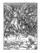 Saint Michael Slaying The Dragon Is A Woodcut Of 1498 By Albrecht Dürer,
