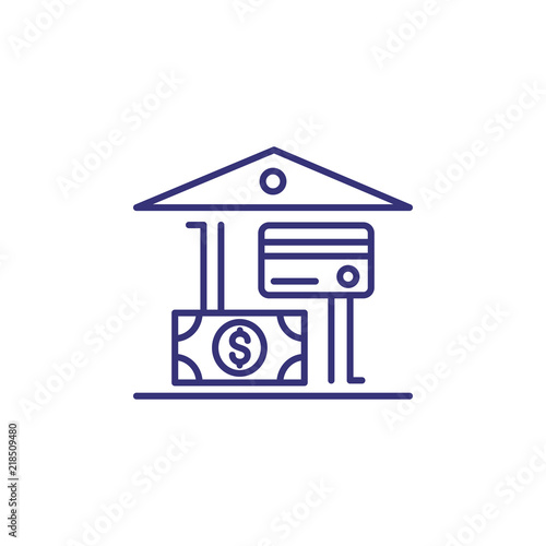 Bank building with dollar and credit card line icon  Bank offers