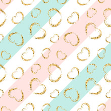 Gold Heart Seamless Pattern. Blue-pink-white Geometric Stripes, Golden Grunge Confetti-hearts. Symbol Of Love, Valentine Day Holiday. Design Wallpaper, Background, Fabric Texture. Vector Illustration