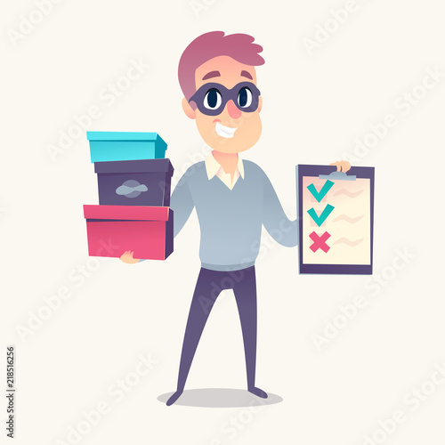 Smiling man as mystery shopper in mask, with purchase boxes and cheklist in hands Fototapeta