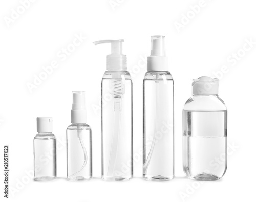 Fotografía Different cosmetic bottles on white background